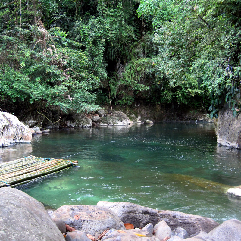 River at the entrance of the Cavinti Underground River and Caves Complex with pristine water